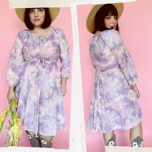 Vtg 70s Fall Lavender Nature Stretchy Midi Dress